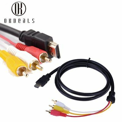 1080P HDMI Male To 3 RCA VGA Cord Video Audio AV Cable Adapter For TV HDTV DVD