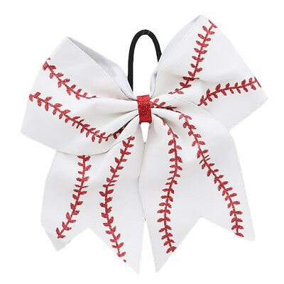 "NEW ""Softball Glitter"" Cheer Bow Pony Tail  Ribbon Girls Hair Cheerleading YI"