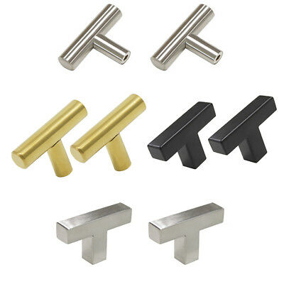 "T Bar Stainless Steel Kitchen Cupboard Handle Bathroom Cabinet Pull 2"" Knobs"
