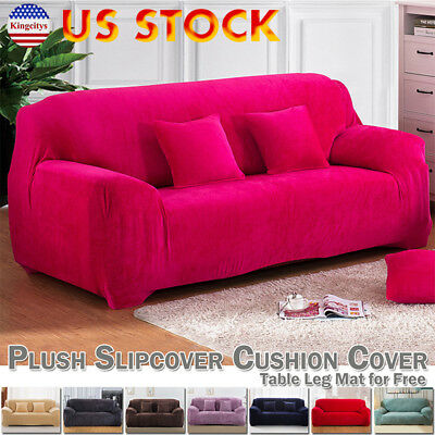 1/2/3/4 Seater Stretch Elastic Fabric Sofa Cover Couch Covers Spandex 7 Colors
