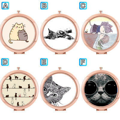 Many Lovely Cat Kitten Folding Compact Makeup Mirror Cosmetic Beauty