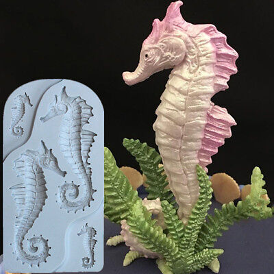 3D Four Cavity Seahorse Fondant Chocolate Mold Cake Mold Decoration Silicone YI