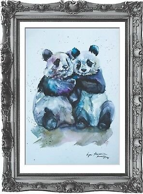 original drawing art panda animals 164хHI aquarelle watercolor signed A3