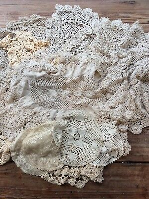 % Large Lot Over 20 Vintage Lace Doilies, Shabby Chic Craft %