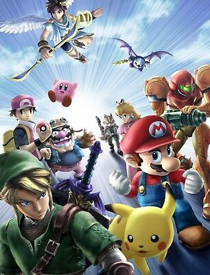 Super Smash Bros Poster Print - Matte  Wall Art - Buy 2 Get 1 Free