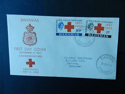 Bahamas First Day Cover 1963 Red Cross stamp set 1d, 10d
