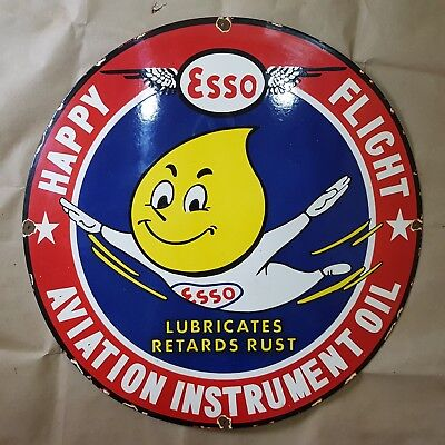 Esso Aviation Oil Vintage Porcelain Sign 29 Inches Round