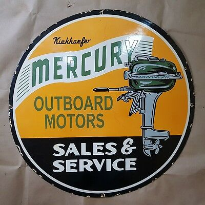 Mercury Outboard Motors Vintage Porcelain Sign 29 Inches Round