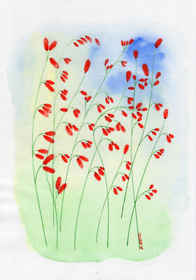 Flowers, blue, pink, red, Watercolor Original Painting Art, Quick sketch