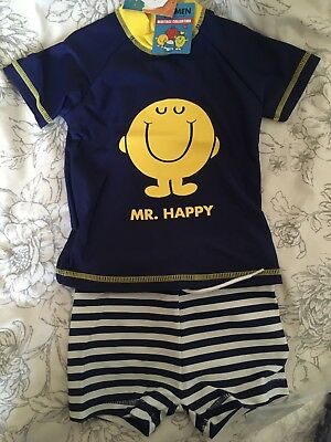 NEXT Boys UV protection Suit Swim wear Mr Men (Mr Happy) 6-9-12-18 months BNWT