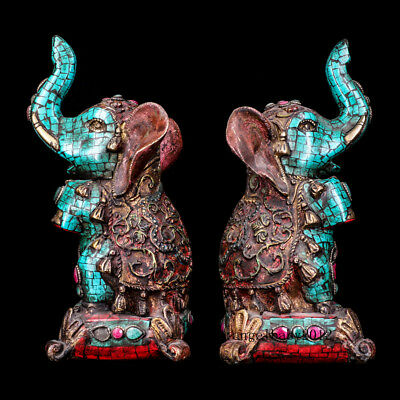 """9"""" A pair Asian Nepal old copper Tibet inlay Turquoise gemstone elephant statue"""