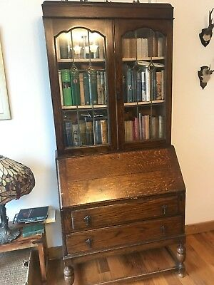Antique Wooden Display Bureau with Bookcase & Writing Cabinet collect only B62