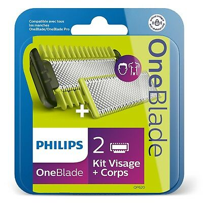 Pack 2 lames Oneblade Philips QP620/50 kit visage + corps  neuf