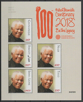 Siamese Joint Issue 2018 PAN African Postal Union Nelson Mandela 100 years