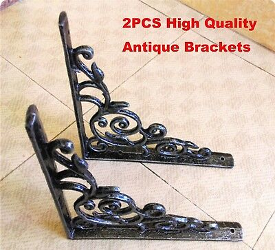 2PCS High Quality Antique Style Shelf Brace Wall Bracket Cast Iron Brackets NEW