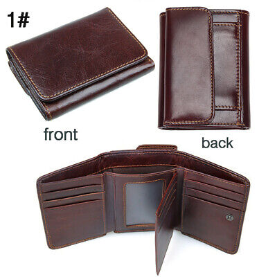 RFID Mens Wallet Genuine Leather Quality Boutique Trifold Coin Card Purse Holder