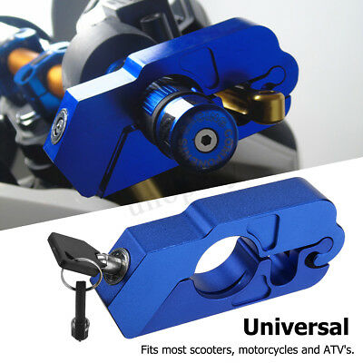 1x Motorcycle CNC Handlebar Grip Brake Lever Security Caps Lock Anti Theft Blue