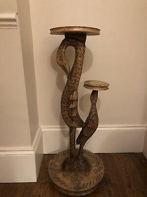 Vintage/Antique Look Wooden Plant / Lamp Stand with Swan Figure