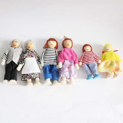 Wooden Furniture Dolls House Family Miniature 6 People Doll Toy For Kid Child *