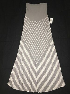 Brand NEW With Tag MOTHERHOOD Maternity Secret Belly M Gray Striped MAXI Skirt