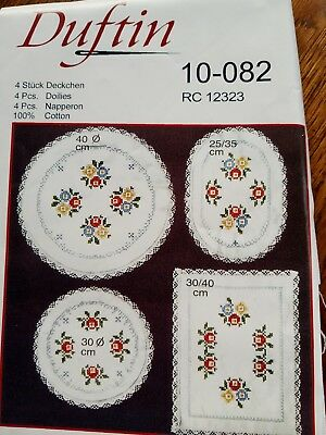 New Duftin cotton mats doilies stamped to embroider cross stitch x four