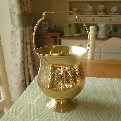 Vintage Solid Brass Jardiniere-Floral Engraving-Lovely Condition