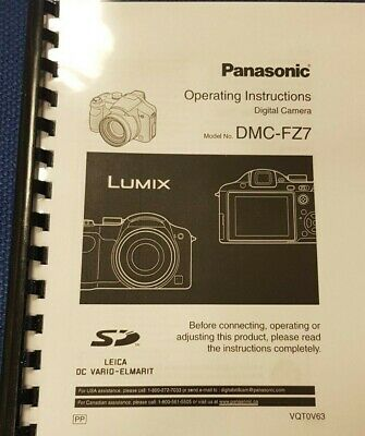 Panasonic Lumix Dmc Fz7 Instruction Manual User Guide Fully Printed 132 Pages A5