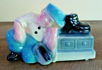 ROYAL COPLEY Planter Sleeping Shoeshine Boy Hand Decorated Spaulding China