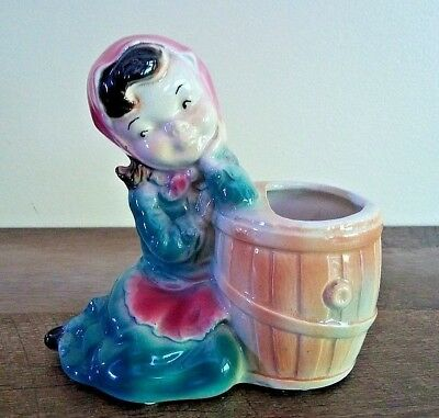 ROYAL COPLEY Planter Girl With Barrel Hand Decorated Ceramic Spaulding China