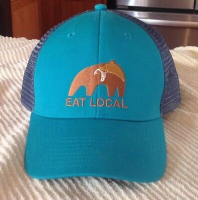 bc012f144ee NWOT Patagonia EAT LOCAL Trucker Hat Bear Fish Cap LoPro SHIPS IN BOX! Sold  Out