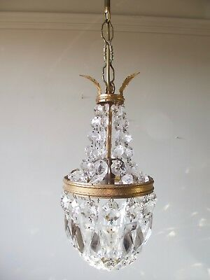 Chic French Vintage Glass Crystal Tent & Bag Chandelier Lighting