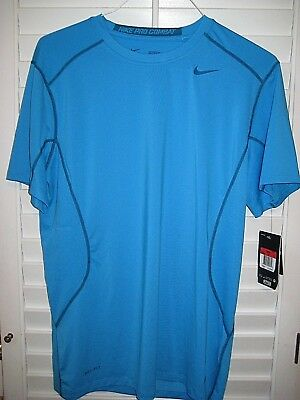 d8142bc8e3e64 NIKE PRO COMBAT COMPETITION BASE LAYER Dri-Fit FITTED S S Blue Shirt ...