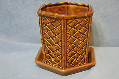 Vintage Otagiri OMC Pottery Planter Pot w Saucer Weave Pattern Brown Japan Made