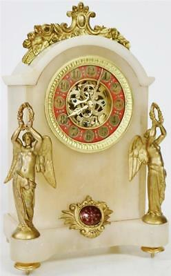 Antique French 8 Day Alabaster Marble Grecian Influenced Timepiece Mantel Clock
