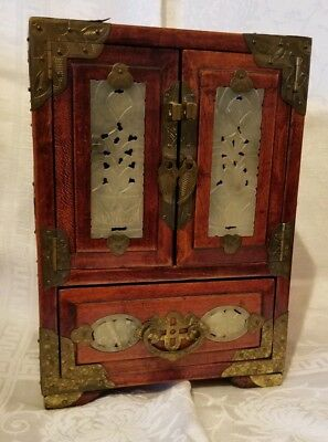 Vintage Asian Chinese Jade and Brass Accented Wood Jewelry Box Chest Trunk