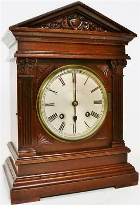 Antique English 8 Day Gong Striking Architectural Carved Mahogany Bracket Clock