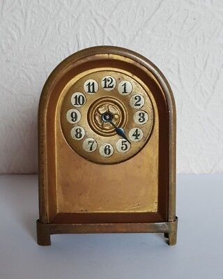 Small Antique Brass MANTLE CLOCK - Minute Hand Missing - 9.5cm high