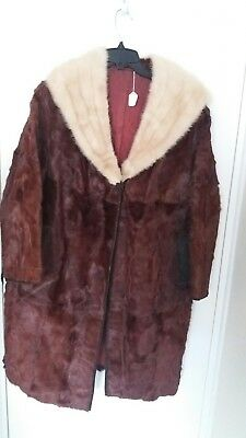VINTAGE PONY SKIN COAT WITH BEIGE MINK FUR COLLAR, size M/L
