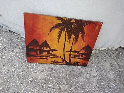 """SignedEast African oil paintingby Muanzafrom 1973visit to Africa 17 """"/14"""""""