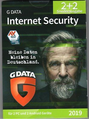 G DATA Internet Security (2019) 2 PC + 2 Android*Virenschutz*Download*