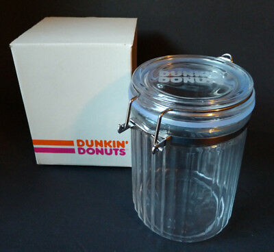 Dunkin' Donuts Glass Canister with Scoop NEW in Original Box