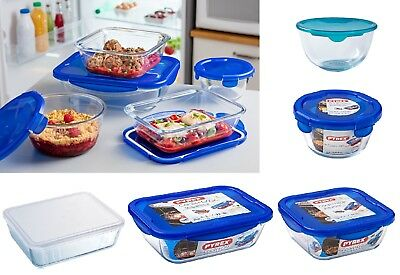 Pyrex Dish With Plastic Lid Oven And Microwave Safe Square Round - Various sizes