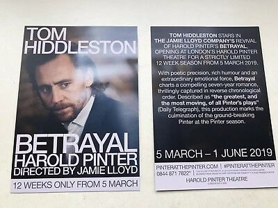 2 X Flyer /Handbill Tom Hiddleston  Betrayal Harold Pinter Theatre London 2019