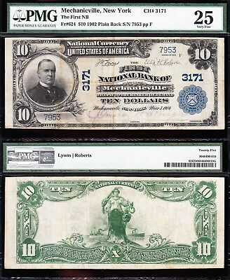 NICE *RARE* Bold & Crisp VF+ 1902 $10 MECHANICVILLE, NY National Note! PMG 25!