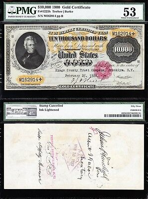 *INCREDIBLE* HIGH GRADE Unperforated 1900 $10,000 GOLD CERTIFICATE! PMG 53!