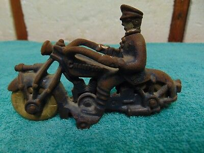 Vintage Cast Iron Champion Police Motorcycle Rubber Wheels