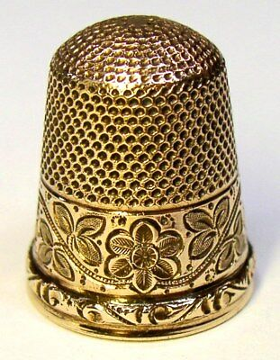 "Antique Stern Bros. & Co. Gold Thimble Flowers & Leaves  Monogram ""M M""  C1890s"