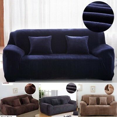 Sofa Cover Super Soft Thick Warm Camel Fleece Couch Slipcovers Stretch Non-slip