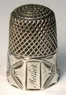 "Antique Shepard Sterling Silver Thimble  Engraved Designs  ""Mother""  C1890s"