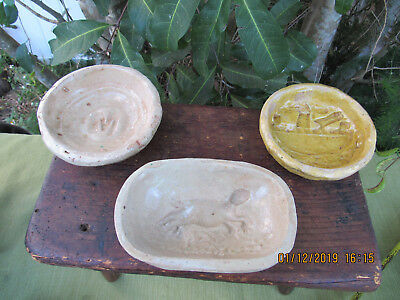 3~ANTIQUE 1860's Handmade Earthenware BUTTER MOLDS~LOT#1~Pennsylvania Farm Find